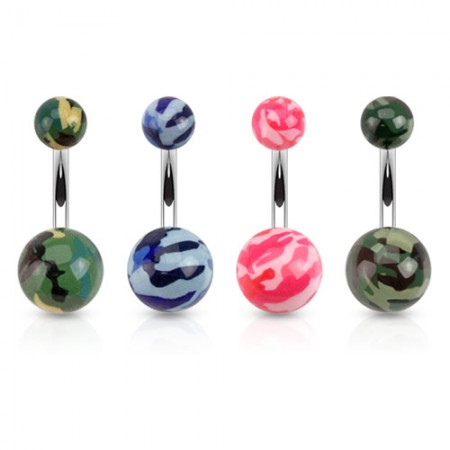 Coloured belly bar with camouflage printed balls