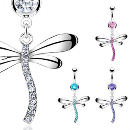 Belly ring with crystal dragonfly dangle