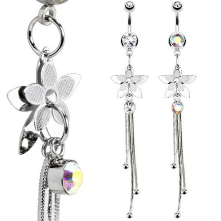 Belly button ring with flower and chains