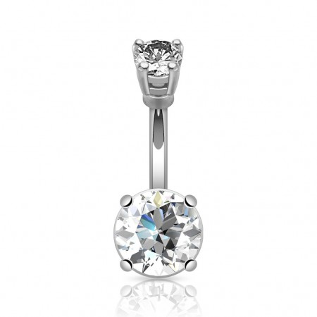 Silver belly bars with large round crystal in various colours - Clear