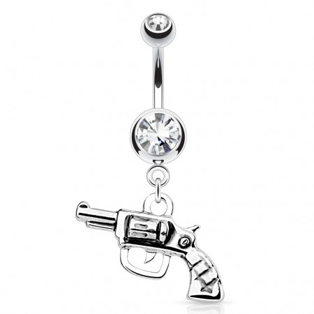 Belly piercing with crystal and gun dangle
