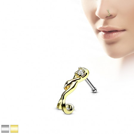 Nose bone with coloured snake crawler and crystal