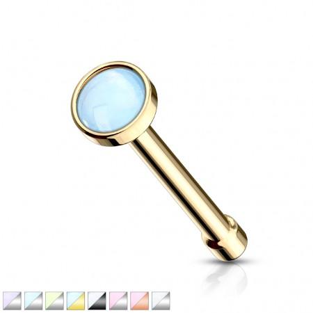 Coloured nose bone with coloured opal stone