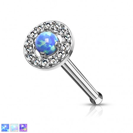 Opal surrounded by crystals top 316L surgical steel nose bone