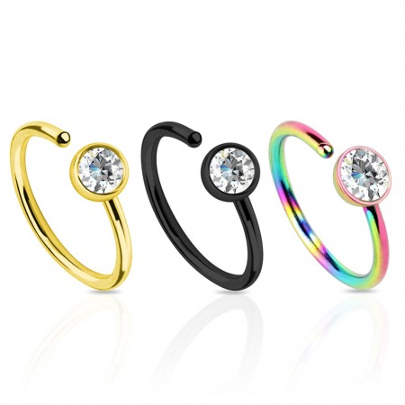 Titanium plated piercing ring with flat crystal