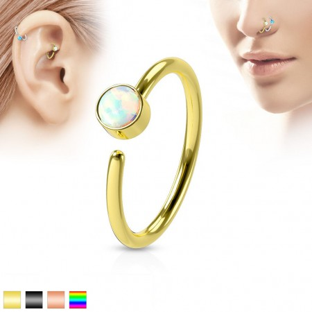 Coloured piercing ring with opal gem