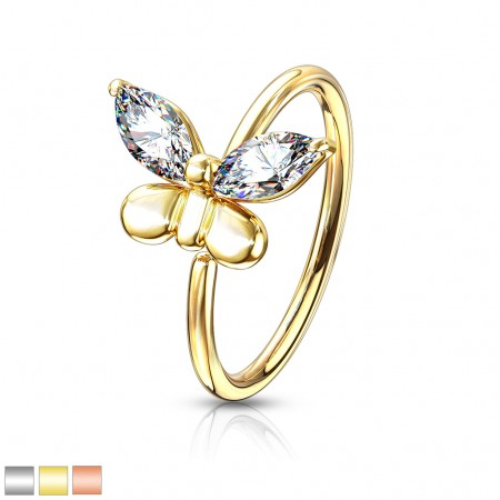 Nose ring with clear crystals in wings of butterfly