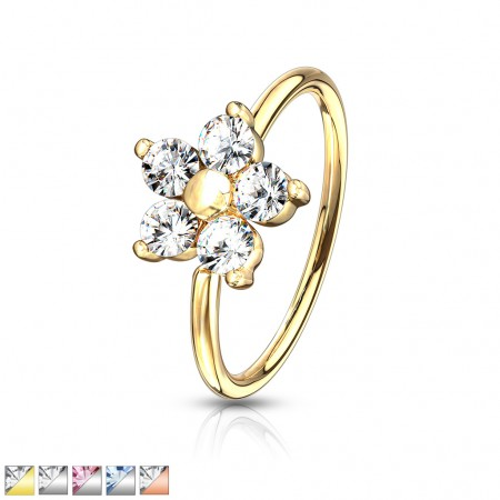 Coloured nose ring with crystals in flower top