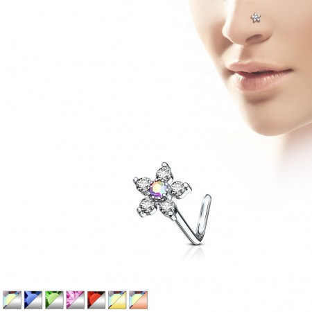 Nose stud with flower and coloured crystals