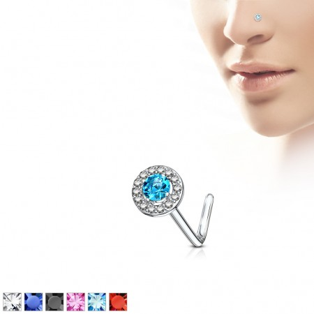 Nose stud with coloured stone on top