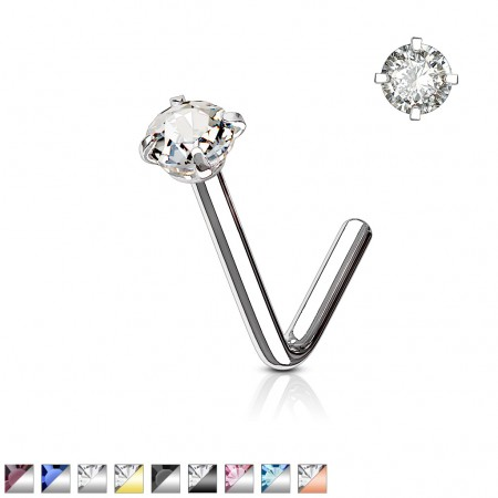 Nose stud with round 2 mm coloured crystal