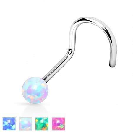 Screw nose piercing with fake opal ball