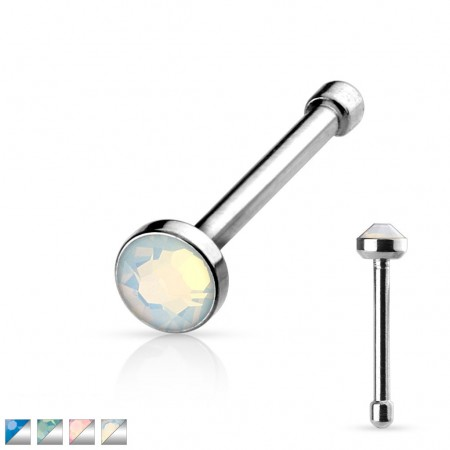 Nose piercing with opalite stone