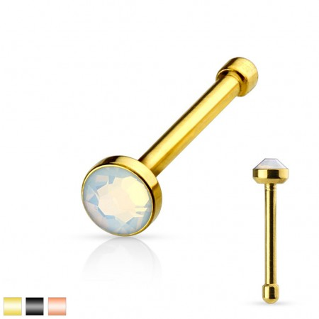 Gold plated nose piercing with opalite stone