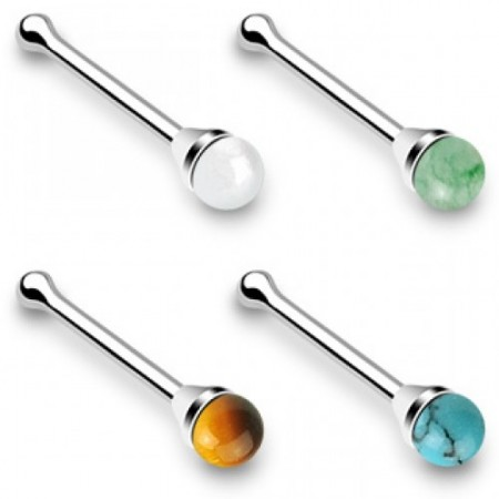 Silver nose stud with round stone
