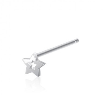 Hollow Star Bendable Nose Stud In Silver Colour