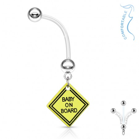 Flexible pregnancy belly piercing with BABY ON BOARD sign