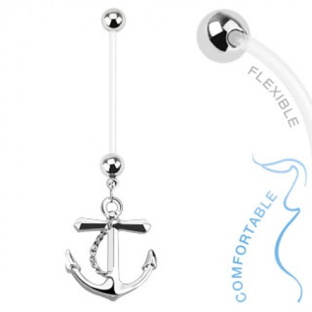 Flexible maternity belly piercing with anchor