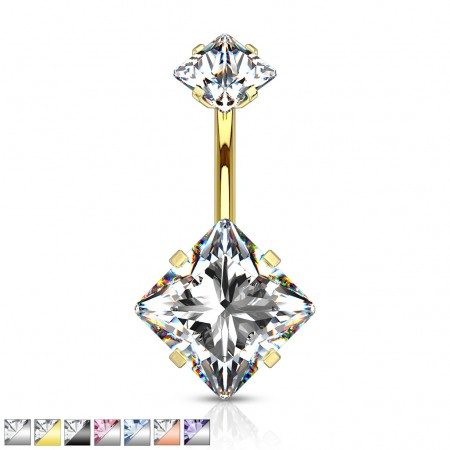 Square jeweled internally threaded belly bar