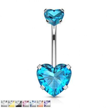 Heart shaped jeweled internally threaded belly bar