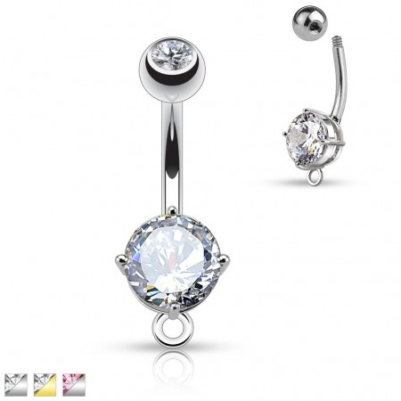 Belly piercing with big crystal and O-ring for dangle