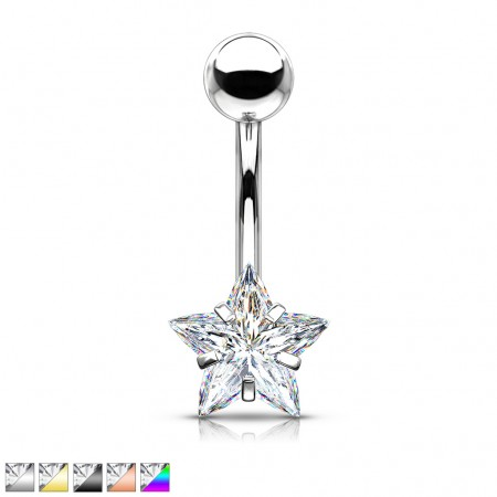 Coloured belly bar with prong set clear star