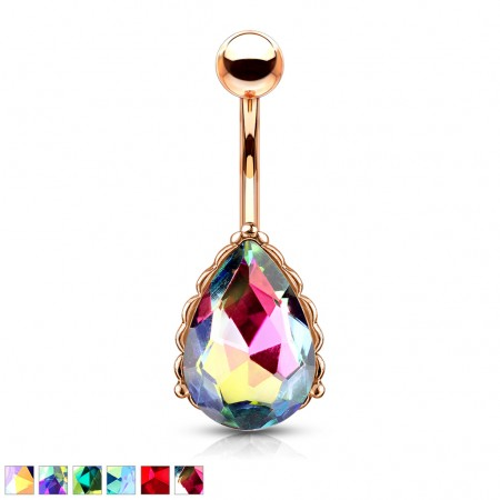 Rose gold aurora borealis glimmering tear drop gem adorned belly bar