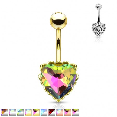 Aurora borealis effect heart gem with filigree belly bar