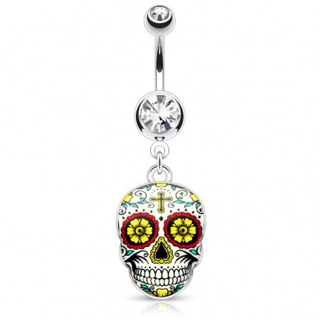 Belly button piercing with sugar skull