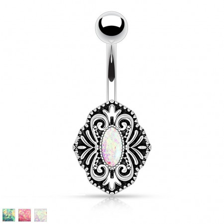 Belly ring with vintage shield and fake opal crystal