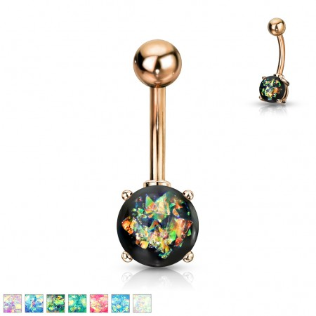 Rose gold belly bar with coloured opal stone