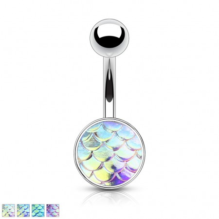 Belly button bar with coloured fish scale ball