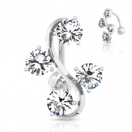 Reverse belly bar with four clear crystals within S-shape