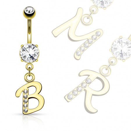 Gold plated belly button piercing with letter as pendant