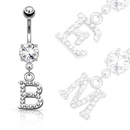 Belly button piercing with letter as pendant