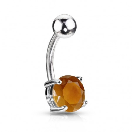Belly bar with Tiger Eye stone