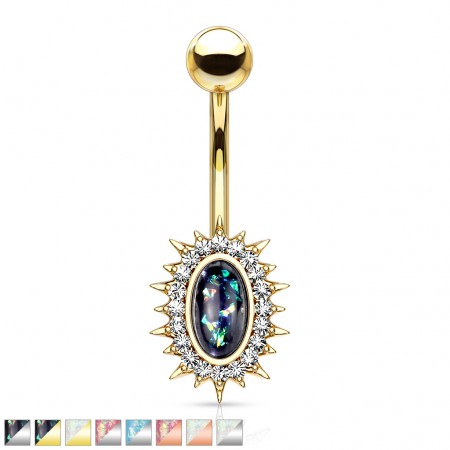 Crystalised sunburst belly bar with opal glitter centre