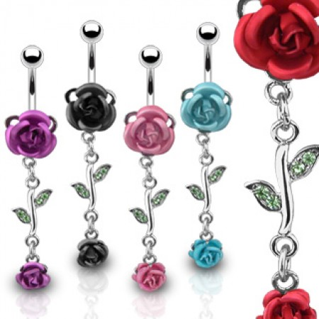 Belly ring with dangle coloured roses