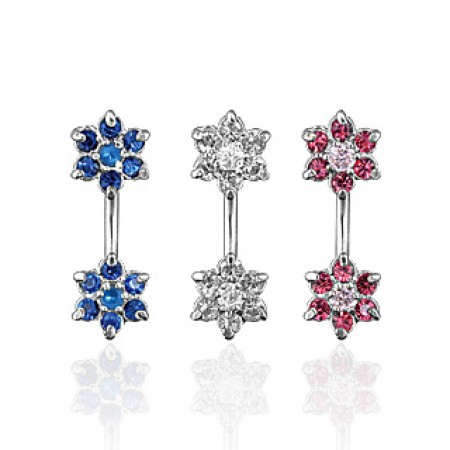 Navel ring with two crystal flowers
