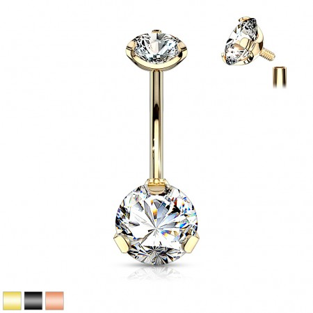 Coloured internally threaded belly bar with clear crystals