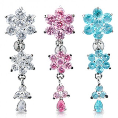 Reverse Belly Bar With Triad Floral Jewel Pattern