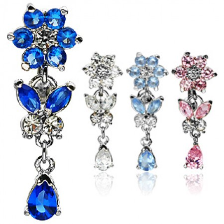 Crystal flowers on a reverse belly bar