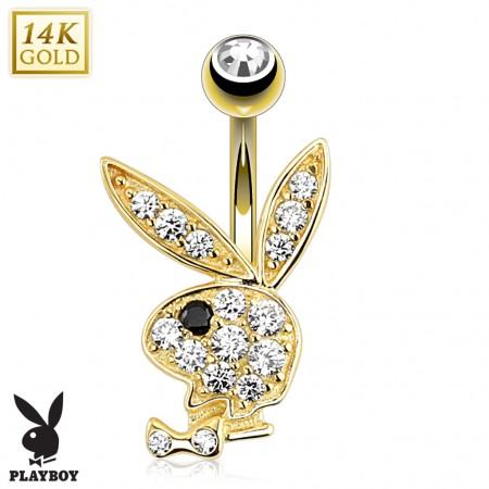14 Kt. gold belly button piercing with crystal Playboy Bunny