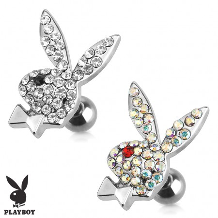 Tragus piercing with crystal Playboy bunny
