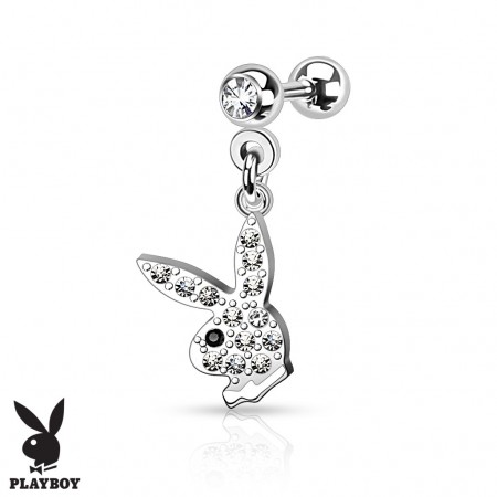 Tragus piercing with Playboy Bunny pendant