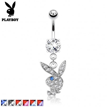 Belly button piercing with crystal Playboy bunny dangle