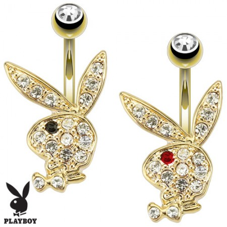 Gold plated belly button piercing with crystal Playboy bunny