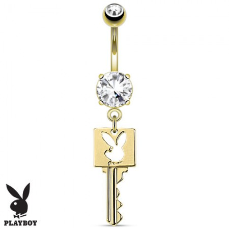 Gold plated belly button piercing with Playboy bunny key