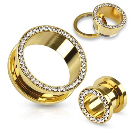 Gold plated screw fit tunnel with crystal ring