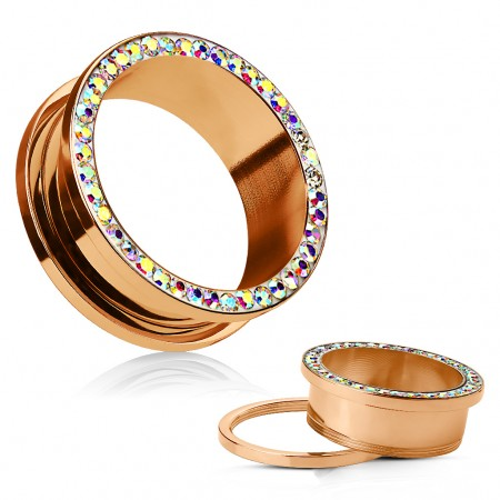 Rose gold screw-fit flesh tunnel decorated in rainbow crystal gems